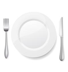knife fork white plate vector image