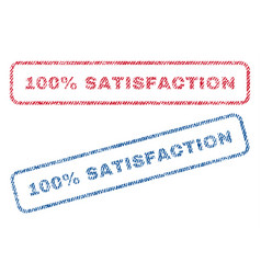 100 percent satisfaction textile stamps vector