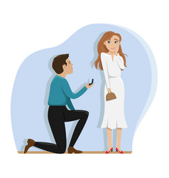 a man makes an offer to marry a girl on one knee vector image