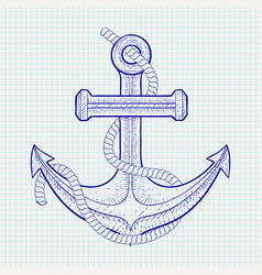 Anchor with rope sketch on notebook sheet vector