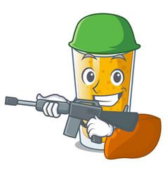 Army lassi mango in a cartoon glass vector