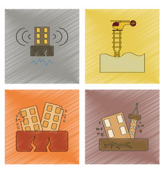 Assembly flat shading style icon earthquake vector