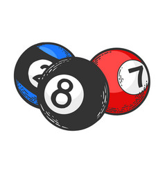 Billiard balls engraving vector