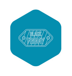 black friday sale tag icon outline style vector image