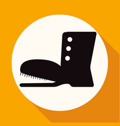boots icon on white circle with a long shadow vector image