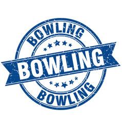 Bowling round grunge ribbon stamp vector