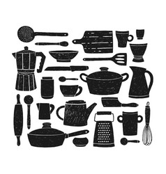 bundle of glassware kitchenware and cookware set vector image