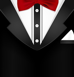 Business tuxedo background with a red bow tie vector