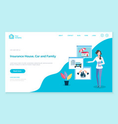 car house and family insurance company website vector image