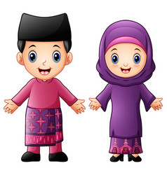 Cartoon brunei couple wearing traditional costumes vector