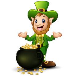 cartoon leprechaun with a pot of gold coins vector image