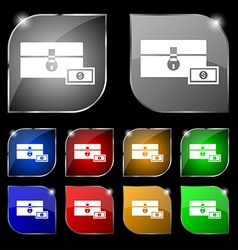 Chest icon sign Set of ten colorful buttons with vector