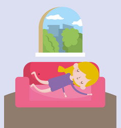 Childrens day little girl resting in sofa vector