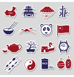 China theme color stickers set eps10 vector