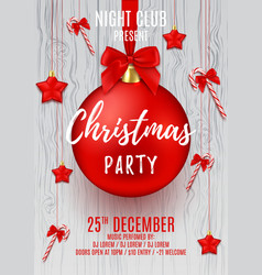 Christmas party flyer with red ball vector image