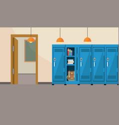 Classroom school education with lockers supplies vector