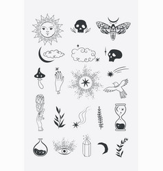 Collection black color mystical icons vector