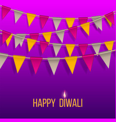 congratulation banner with hanging flags on happy vector image