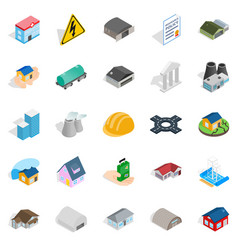 Construct icons set isometric style vector