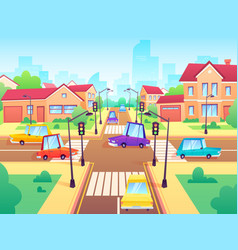 crossroad with cars city suburb traffic jam vector image