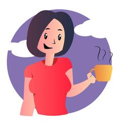 cute cartoon girl holding coffee on white vector image