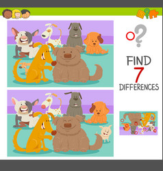 differences game with dog or puppy characters vector image