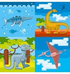 Dinosaur prehistoric concept backgrounds set in vector image