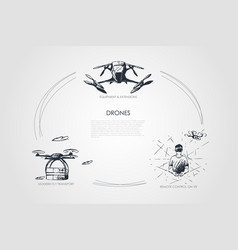 drones - equipment and extensions remote control vector image