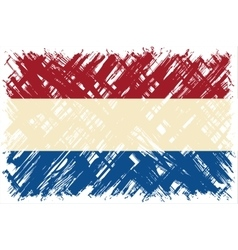 Dutch grunge flag vector image