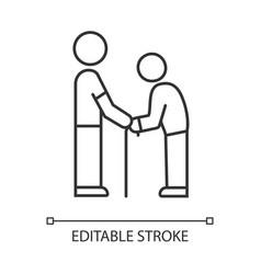 Elderly people help linear icon volunteer vector