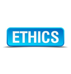 ethics blue 3d realistic square isolated button vector image