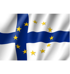 Finland national flag with a star circle of eu vector