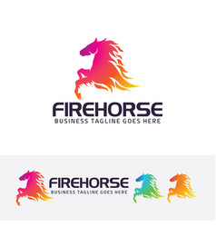 fire horse logo design vector image