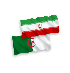 Flags algeria and iran on a white background vector