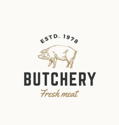 fresh meat butchery abstract sign symbol vector image