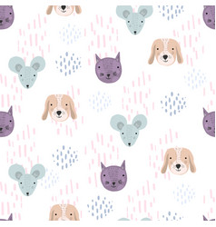 funny pattern with cartoon cats dogs and mice vector image
