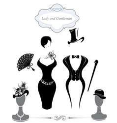 Gentleman and Lady symbols vintage style vector image