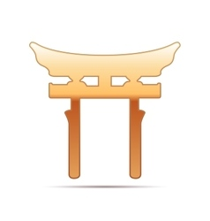 Gold Japan Gate Torii icon on white background vector