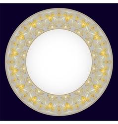 Gold oriental tray vector