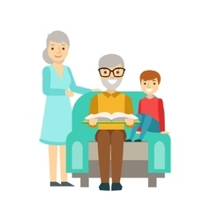 Grandparents And Boy Reading A Book Happy Family vector