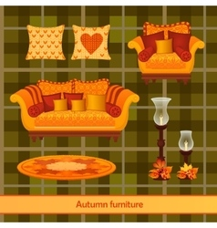 Great set of furniture in the autumn style vector image