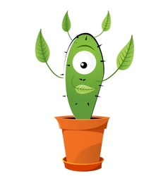 Green cactus with leafs vector