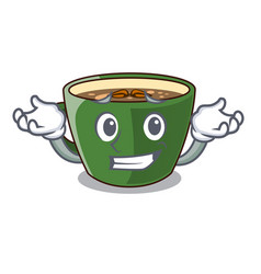 Grinning indian masala tea on character board vector