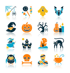Halloween color flat silhouette icon set vector