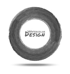 Hand drawn watercolor dark gray circle design elem vector