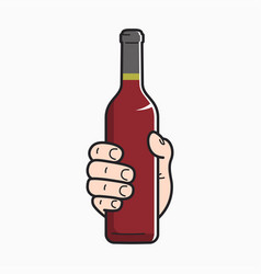 hand hold wine bottle male hand holding a wine vector image