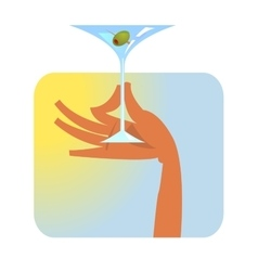 Hand with martini glass vector