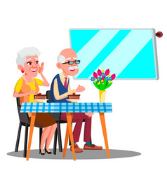 happy elderly couple sitting in cafe and watching vector image