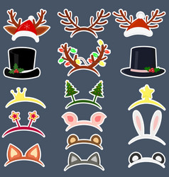 happy new year and merry christmas set of sixteen vector image