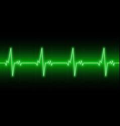heartbeats cardiogram ekg heart line green vector image